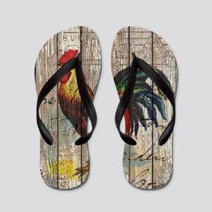 rustic farm country rooster Flip Flops