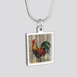 rustic farm country rooste Silver Square Necklace