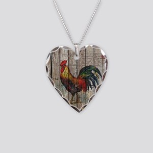 rustic farm country rooster Necklace Heart Charm