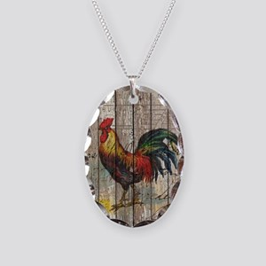 rustic farm country rooster Necklace Oval Charm