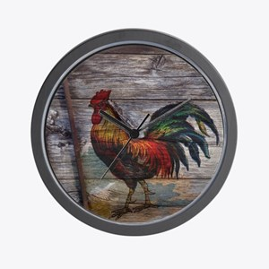 rustic farm country rooster Wall Clock