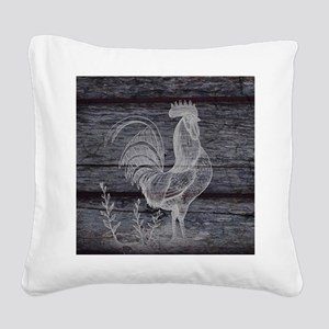 rustic farm country rooster Square Canvas Pillow