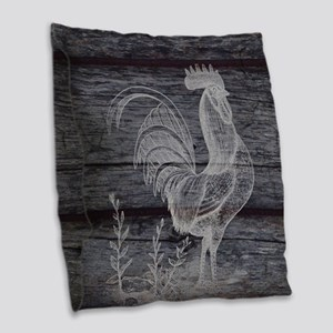 rustic farm country rooster Burlap Throw Pillow