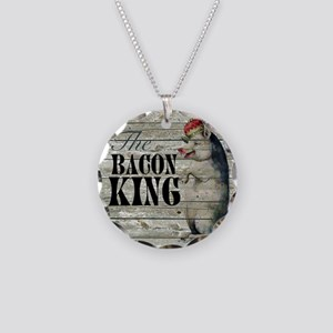 funny pig bacon king Necklace Circle Charm