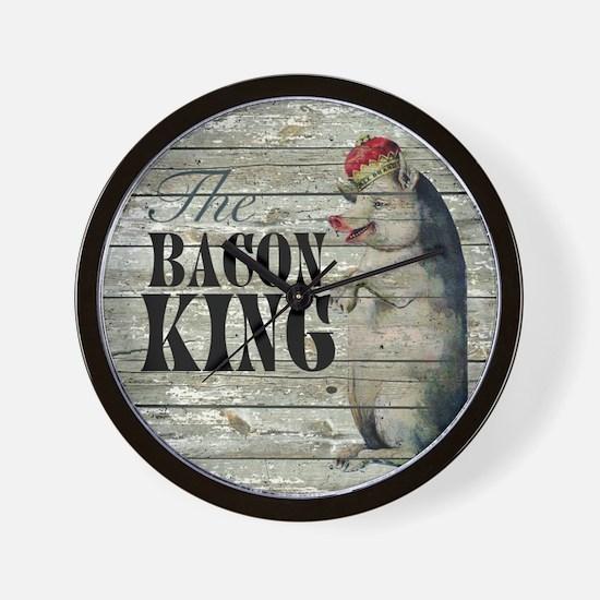 funny pig bacon king Wall Clock