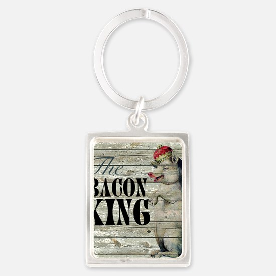 funny pig bacon king Portrait Keychain