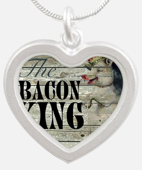 funny pig bacon king Silver Heart Necklace
