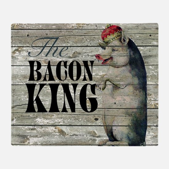 funny pig bacon king Throw Blanket