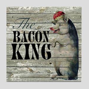 funny pig bacon king Tile Coaster