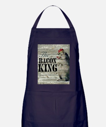 funny pig bacon king Apron (dark)