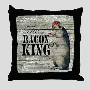 funny pig bacon king Throw Pillow