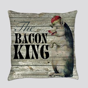 funny pig bacon king Everyday Pillow
