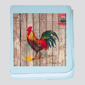 rustic farm country rooster baby blanket