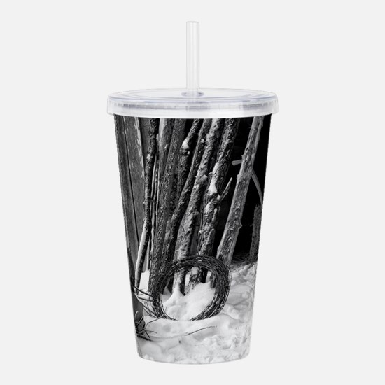 Winter Farm Chores Acrylic Double-wall Tumbler