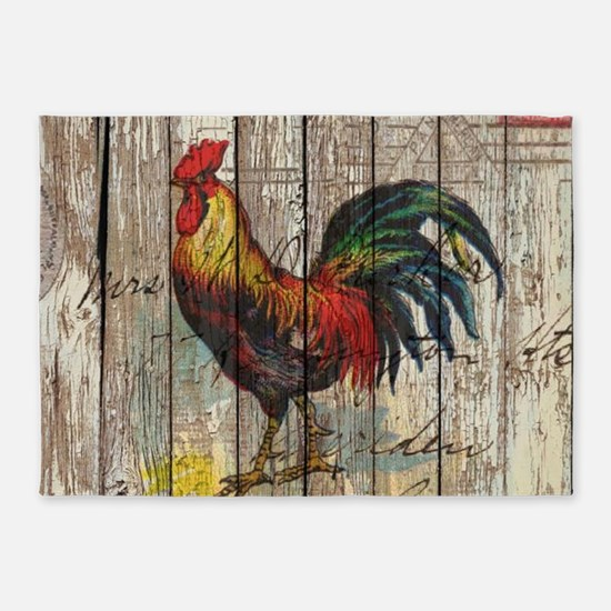 rustic farm country rooster 5'x7'Area Rug