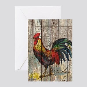 rustic farm country rooster Greeting Cards