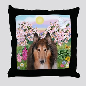 Blossoms - Collie (H) Throw Pillow