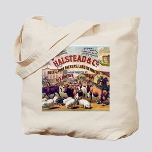 Halstead and C beef and pork Packers Vint Tote Bag