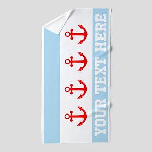 Personalized Nautical Chicago Flag Beach Towel