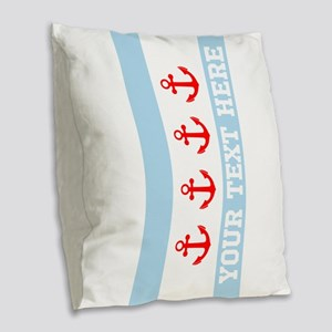 Personalized Nautical Chicago Flag Burlap Throw Pi