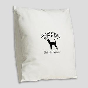 Sleep With Black and Tan Coonh Burlap Throw Pillow