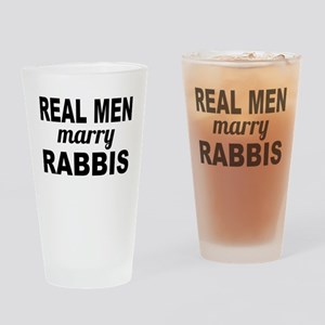 Real Men Marry Rabbis Drinking Glass