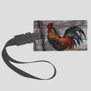 rustic farm country rooster Large Luggage Tag