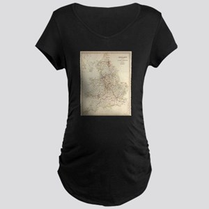 Vintage Map of England (1837) Maternity T-Shirt