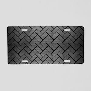 BRICK2 BLACK MARBLE & GRAY Aluminum License Plate