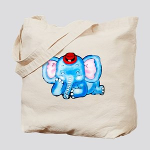 Blue Elephant with Red Hat Tote Bag