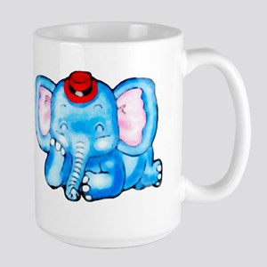 Blue Elephant with Red Hat Mugs