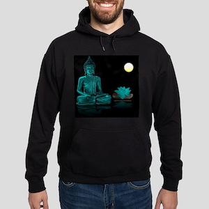 Teal Colour Buddha Hoodie (dark)