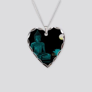 Teal Colour Buddha Necklace Heart Charm