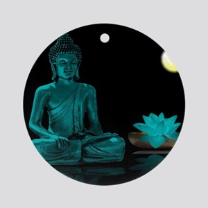 Teal Colour Buddha Ornament (Round)