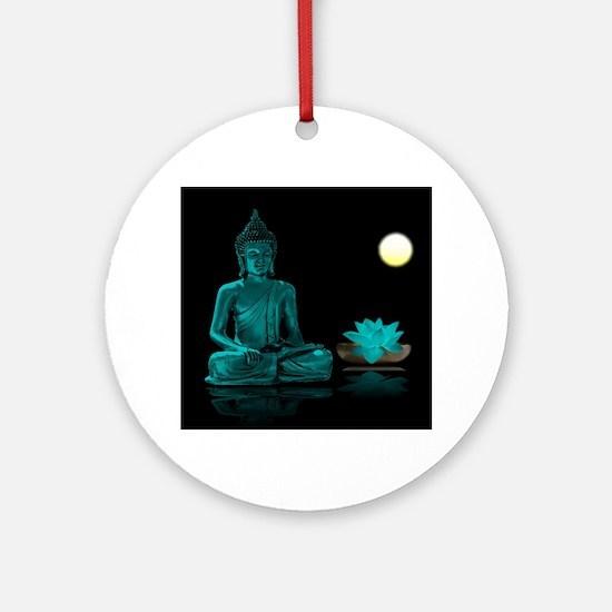 Teal Colour Buddha Ornament (Round)