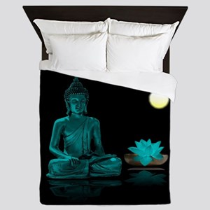 Teal Colour Buddha Queen Duvet