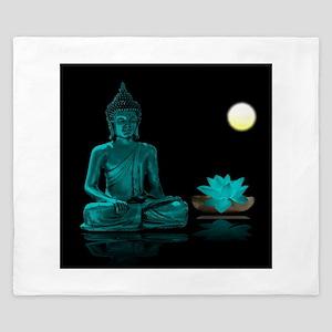 Teal Colour Buddha King Duvet