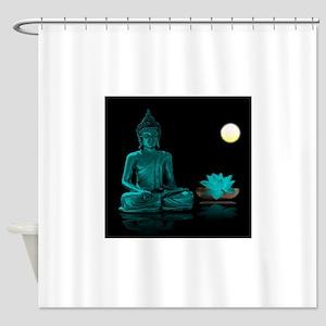 Teal Colour Buddha Shower Curtain