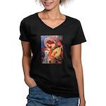 Angel / Bedlington T Women's V-Neck Dark T-Shirt