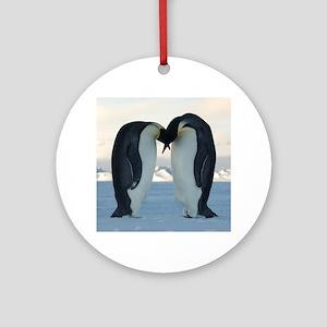 Emperor Penguin Courtship Ornament (Round)