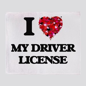 I Love My Driver License Throw Blanket