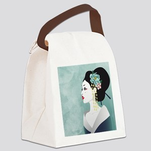 Japanese Woman Canvas Lunch Bag
