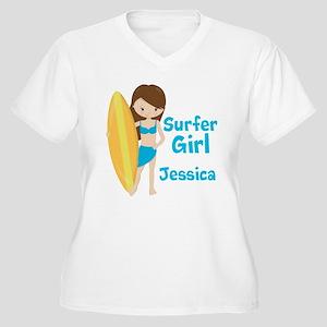 Surfer Girl Brune Women's Plus Size V-Neck T-Shirt