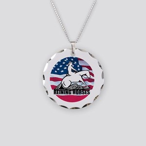 Reining Horses USA Flag Necklace Circle Charm