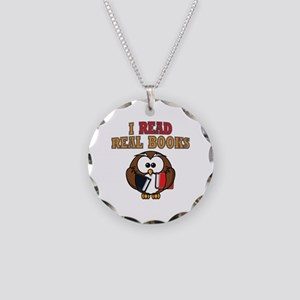 Real Books Owl Necklace Circle Charm