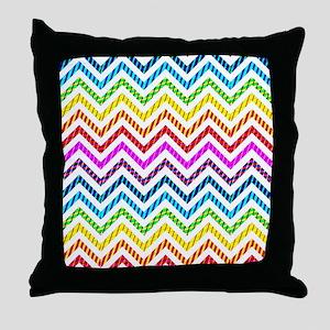 Wild Rainbow Chevron Throw Pillow