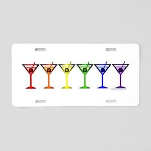 Rainbow Martinis Aluminum License Plate