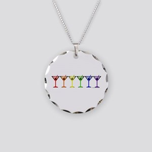 Rainbow Martinis Necklace Circle Charm