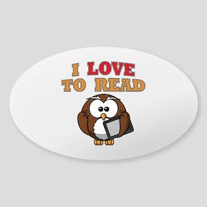 E-Reader Owl Sticker (Oval)