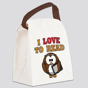 E-Reader Owl Canvas Lunch Bag